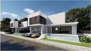 Moderne villas vlakbij het strand in Málaga.